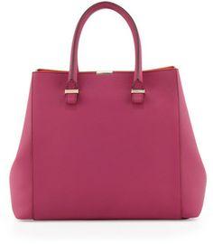 Victoria Beckham Liberty Structured Tote Bag, Magenta/Tangerine on shopstyle.com