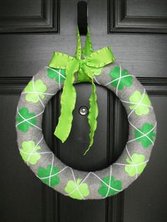St. Patricks Day Wreath. $30.00, via Etsy. Would not pay $30 for this. I made the valentine's one for less than $10!