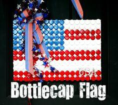 Bottle cap flag! COOL!