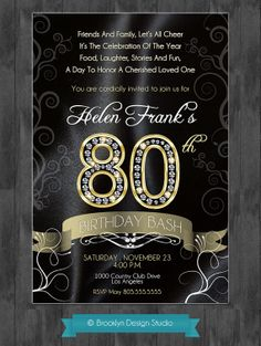80th Birthday Party Invitation
