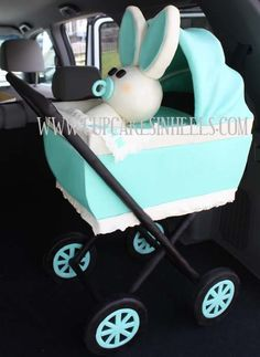 Tiffany Blue Stroller Cake (real size stroller) with Edible Baby Bunny for Baby Shower