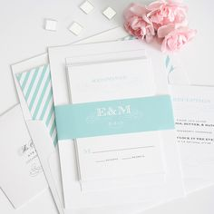 Wedding Invitations with Monogram in Aquamarine