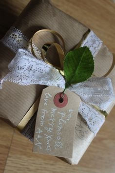 wrapping - kraft paper with ribbon and lace