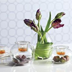 Clearly Creative™ Eclectic Votive Trio by PartyLite® Candles. tulips, flowers, acorns, fillers, diy, centerpiece, garden, orange, purple, green, clear glass, wedding, birthday