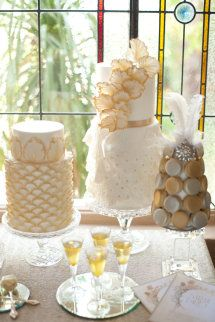 Style Me Pretty | GALLERY & INSPIRATION | GALLERY: 12687 table displays, gold weddings, modern wedding cakes, elegant cakes, wedding desserts, wedding dessert tables, cake display, floral designs, event styling