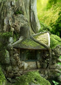 A cross between Hagrid's Hut, Bilbo's House, and a fairy house! <3