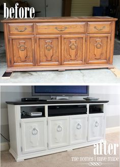 Turn an old dresser into an entertainment center! Remove the drawers, paint the entire dresser (along with the inside of where the drawers used to be) and swap out the old handles & knobs for new ones! #DIY...I love this idea soooo much!!