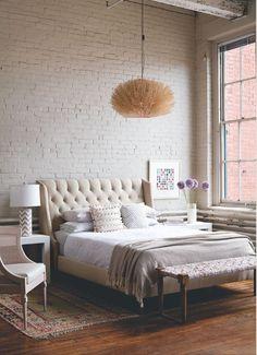 Interior Design, Chair, Headboard, Floor, Color, Loft, Exposed Brick, Light, Bedroom
