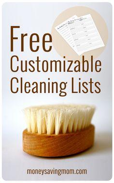 Money Saving Mom@ Customizable Cleaning Lists