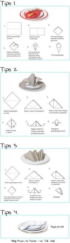 Como arrumar uma mesa com guardanapos