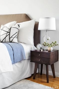 Exclusive: Tour Margo & Me's Hollywood Haven | DomaineHome.com // A serene palette of blue, white, and brown are just right for a bedroom.
