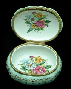 Vintage Porcelain Dresser Box 1940s for Jewelry Hinged Lid in Teal White and Florals and Gold Gilt. $65.00, via Etsy.