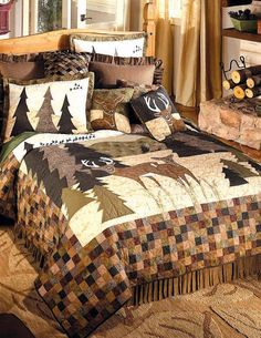 """""""White Tail Deer"""" quilt by Donna Sharp.  This is the quilt I have on my beetle kill log bed ;D"""