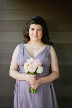 A stunning bridesmaid in the Grey Ridge Jessie! #weddings #donnamorganbridesmaids  Photography by carla-marie.com  Read more - http://www.stylemepretty.com/2013/08/02/edmonton-wedding-from-carla-marie/