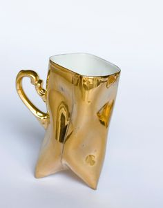 Gold porcelain cups set - ceramic mugs for coffee or tea, luxurious handmade gift