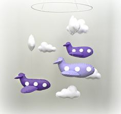 Airplane mobile - baby mobile - nursery decor - purple felt airplanes, white clouds - READY NOW via Etsy