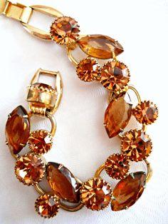 Juliana D&E Bracelet Topaz Brown Rhinestones by RenaissanceFair, $110.00
