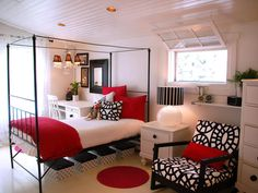 Contemporary Bedroom in Black, White and Red