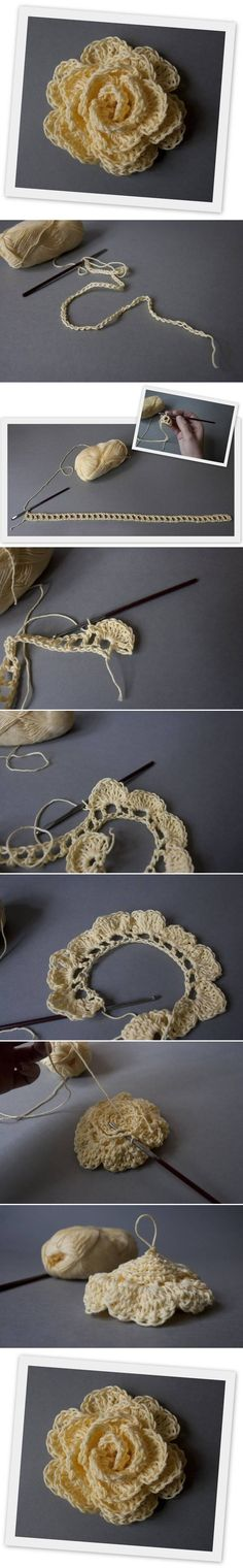 Crochet Rose. Idea - add a pretty button or old ear-ring for centre.