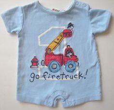 Miniwear Go Fire Truck Romper - size 0-3m baby boy - shipping included