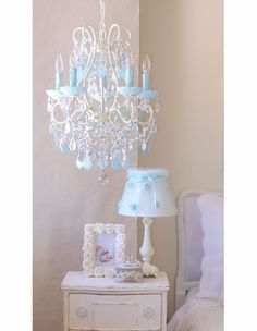 5 Light Beaded Chandelier with Milky Opal Aqua-Blue Crystals