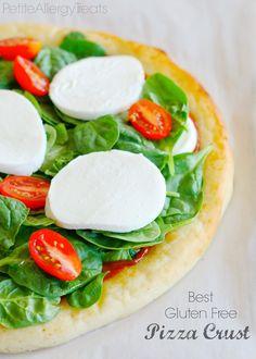 BEST Gluten Free Pizza Crust ever!-PetiteAllergyTreats  Chewy, crispy gluten free crust. #Vegan, #glutenfree