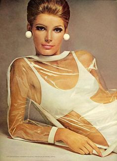 I love the kitschness of plastic clothing!1967. 1960s fashion