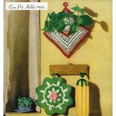 ... Vintage 50s Crochet Patterns Flowers Potholders Rose Doily Mats etc ...