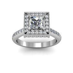 Square halo for princess cut stone - diamonds on every side of the halo  #princesscut #engagement #engagementrings #jewelry #artdeco #weddings  $1813