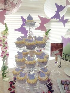 Lavender Baby Shower Party cupcakes! See more party planning ideas at CatchMyParty.com!