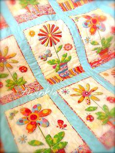 Appliqued Potted Flower Quilt