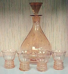 Pink Etched Depression Glass Decanter & Glasses