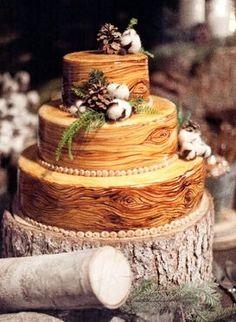 Wood grain wedding cake.