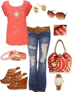 Coral Tie Die, created by magiclips38 on Polyvore