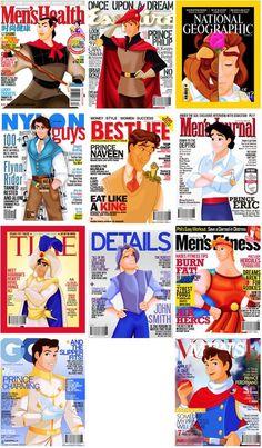 magazin cover, disney prince magazine, funni, disney princesses in magazines, disney princes3, princ magazin, disney magazines, disney magazine covers, disney princess tumblr funny