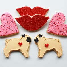 Pugs & Kisses Valentine Gift Box - 6 Cookies - MADE TO ORDER. $24.00, via Etsy whippedbakeshop