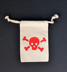 Skull and Crossbone Muslin Pouch 4x6 - Birthday Favor Bags - Pirate Party