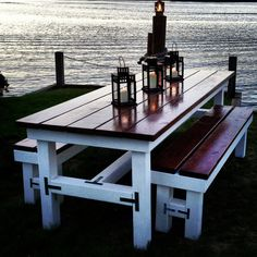 Beautiful Wooden Large Outdoor Table  Matching Benches