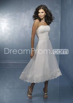 Concise A-Line Strapless Backless Tea Length Lace Beach Wedding Dress