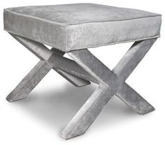 X-bench, Brussels Charcoal - traditional - ottomans and cubes - Jonathan Adler