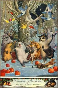 B 1917 Christmas in The Woods Animals dancing Art Poster Advertising History | eBay
