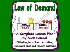 Law of Demand - Lesson Plan and Activities from Nick Samsal on TeachersNotebook.com (37 pages)  - This is a complete lesson plan about the law of demand.  It explores the relationship between price and quantity demanded, why demand might change, and how to graph those changes.