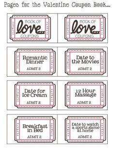 Cupones de San Valentin  Valentine Coupon Book