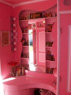 Custom pink vanity and dressing area