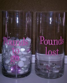 My Motivation Marbles:  1 marble for each pound I need to lose...and a big pink jewel in the bottom for the day I hit my goal weight.  :-)