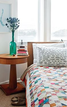 Great pillowcase - 1930's apartment of Australian photographer and artist, Murray Hilton -Photography Maree Homer | Styling Louise Bickle. Might be cute to have a beautiful scripture verse on pillow case. Love the round bedside table