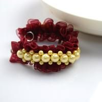 DIY style ideas-make cool diy bracelets out of pearl beads and organza ribbon