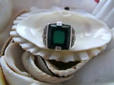 Sterling Silver Marcasite and Chrysoprase Ring Size 5.25 Art Deco