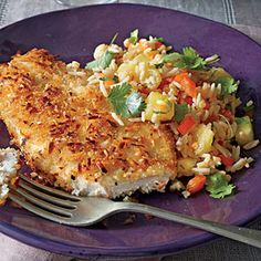 Coconut Chicken with Pineapple Fried Rice | MyRecipes.com