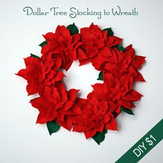 Make a Felt Poinsettia wreath from @Stacey Dollar Tree stocking and cardboard @savedbyloves